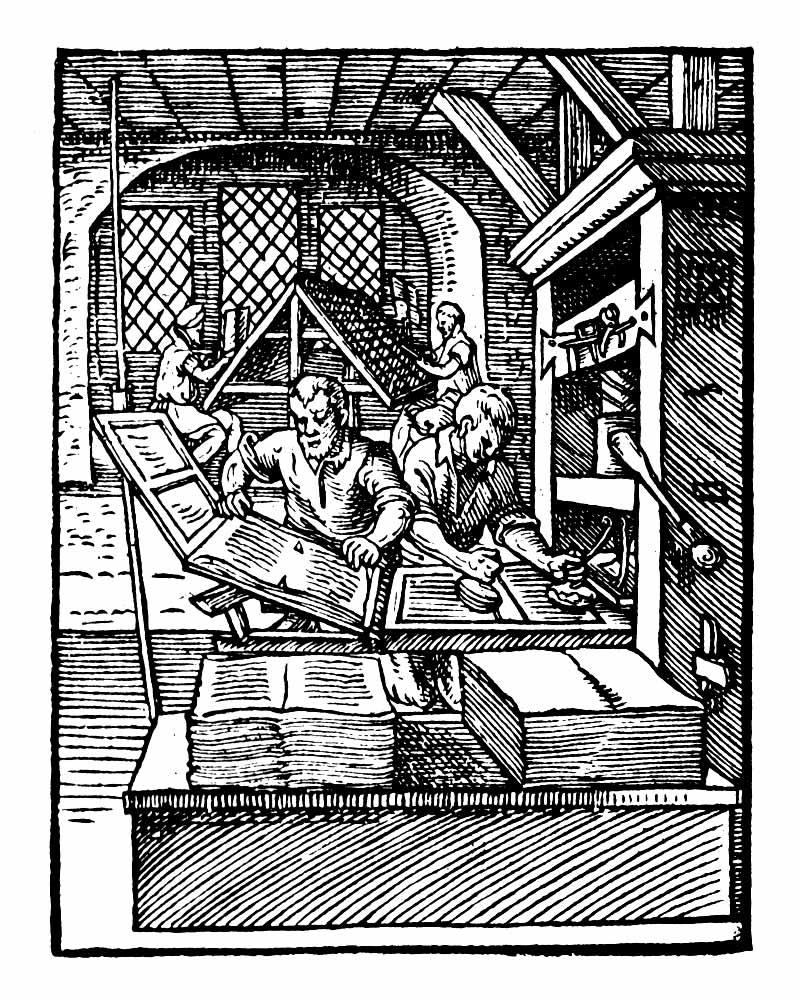 Ilustração antiga de uma oficina de impressão manual de livros