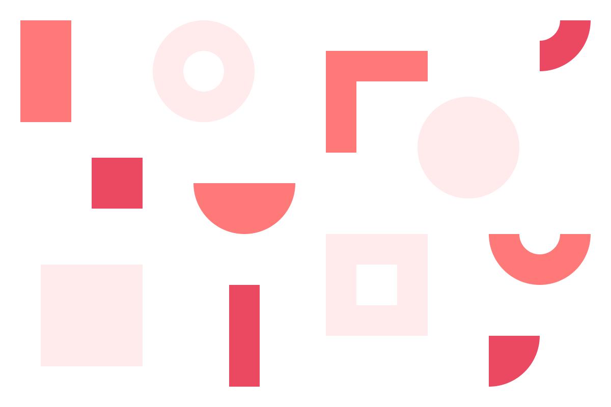 Ilustração de formas geométricas em tons de vermelho alusiva ao DXD