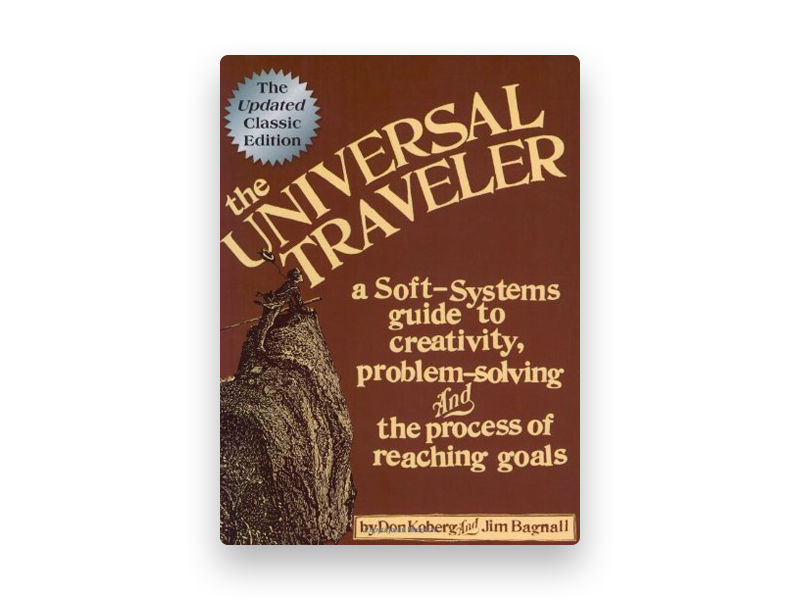 "Fotografia da capa do livro de Don Koberg e Jim Bagnall ""The universal traveler"""