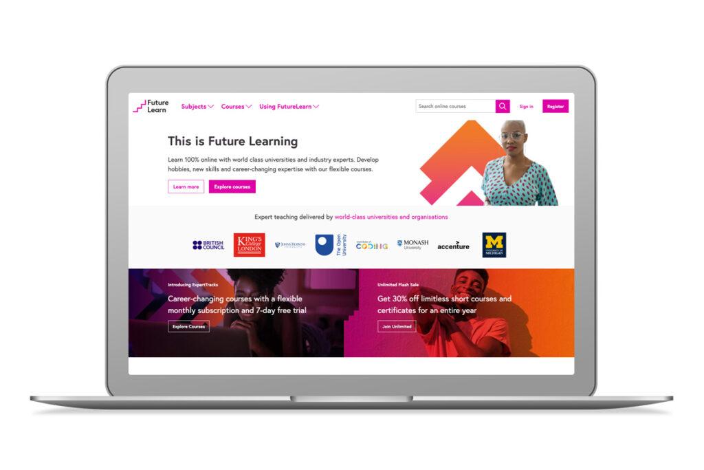 Imagem do website da FutureLearn