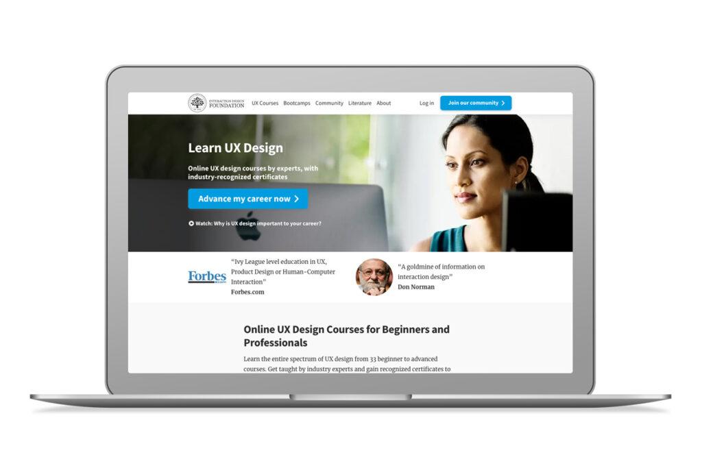 Imagem do website da Interaction Design Foundation