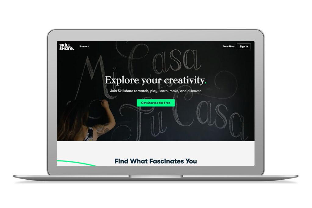 Imagem do website da Skillshare