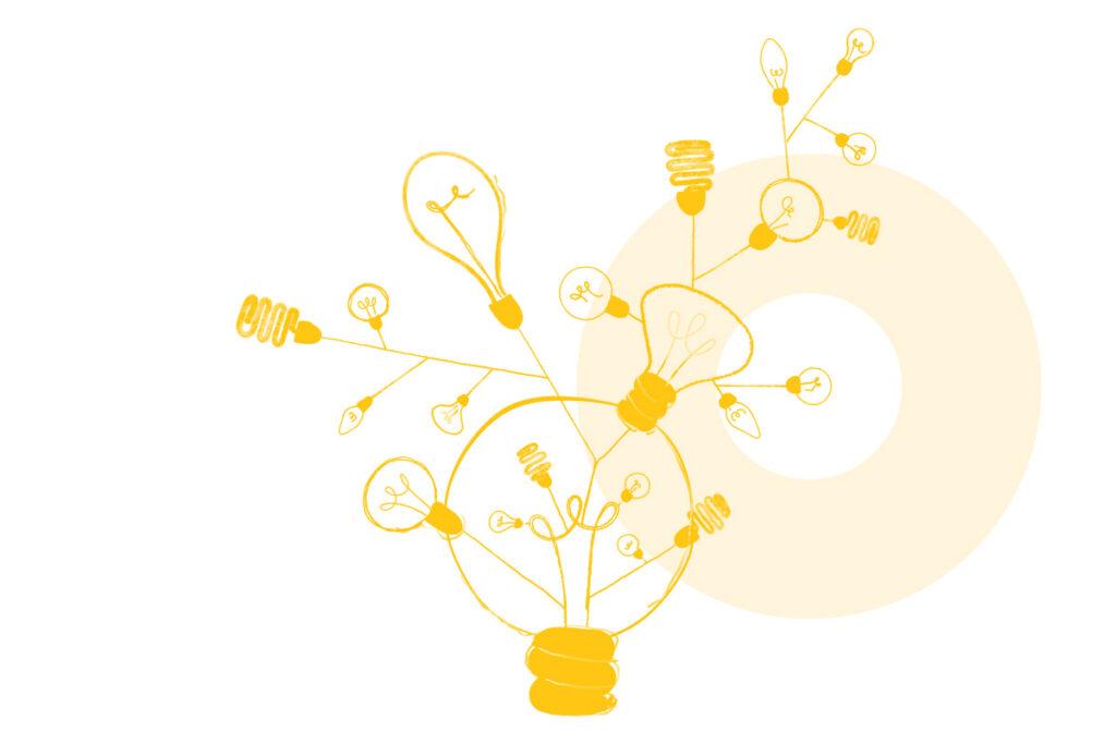 Ilustração de várias lâmpadas alusiva ao conceito de abstração