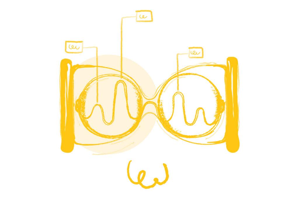 Ilustração de uma ampulheta alusiva ao conceito de visão para o futuro do DXD