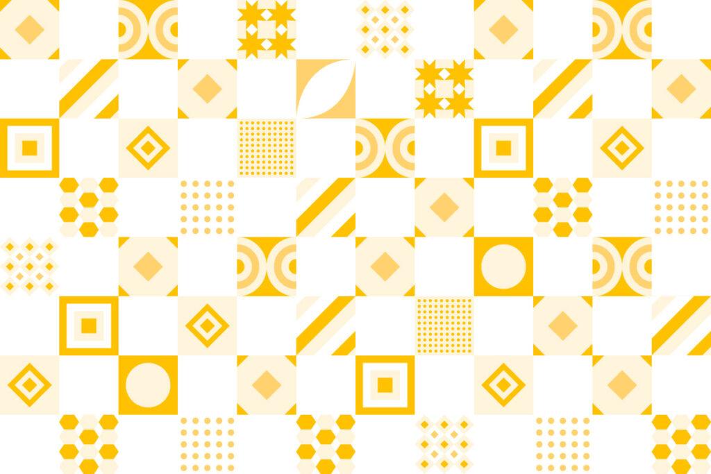 Ilustração com mosaicos com formas geométricas